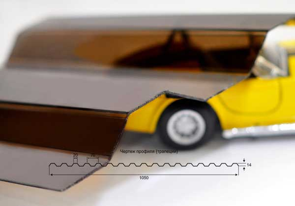Поликарбонат профилированный (трапеция) 0.8мм
